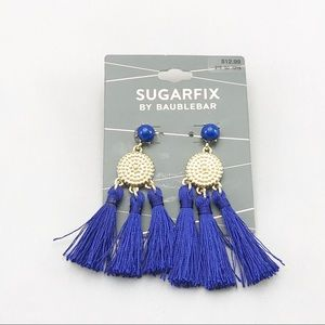 Sugarfix Baublebar Blue tassel earrings NWT